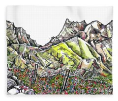 Rocks Flowers Mountains Fleece Blanket