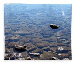 Rocks In Calm Waters Fleece Blanket
