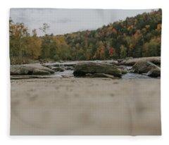 Rocks On Cumberland River Fleece Blanket