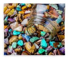Rocks Pouring Out Of Glass Jar Fleece Blanket