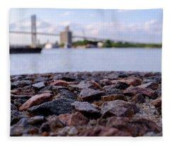 Rocks River And A Bridge In Savannah Georgia Fleece Blanket