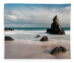 Rocky Beach On Sango Bay Fleece Blanket
