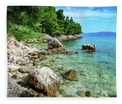 Rocky Beach On The Dalmatian Coast, Dalmatia, Croatia Fleece Blanket
