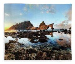 Rocky Beach Sunrise, Bali Fleece Blanket