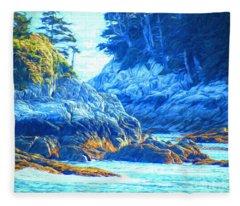 Rocky Coast - Inside Passage Fleece Blanket