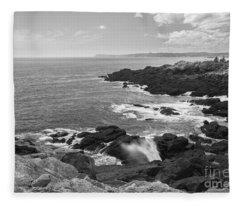 Rocky Coastline Downeast Maine Fleece Blanket