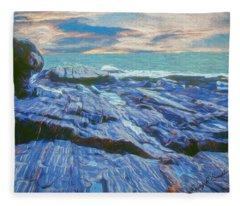 Rocky Maine Coast. Fleece Blanket