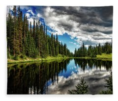 Rocky Mountain Lake Irene Fleece Blanket