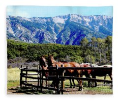 Rocky Mountains Horses Country Living II Fleece Blanket
