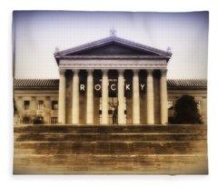 Rocky On The Art Museum Steps Fleece Blanket