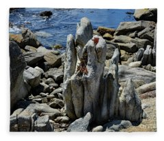 Rocky Remains At Carmel Point Fleece Blanket