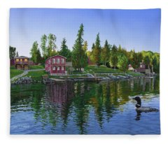 Rocky Shore Lodge Fleece Blanket