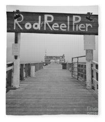 Rod And Reel Pier In Fog In Infrared 53 Fleece Blanket