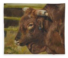 Rodeo Bull 3 Fleece Blanket