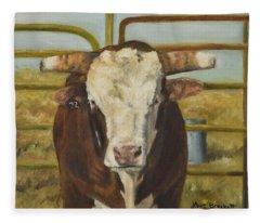 Rodeo Bull 8 Fleece Blanket
