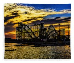 Roller Coaster Sunset Fleece Blanket