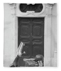 Roma Vespa And Door  Fleece Blanket