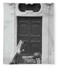 Roma Vespa And Door  Fleece Blanket