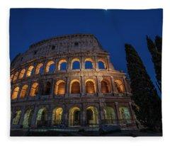 Roman Coliseum In The Evening  Fleece Blanket