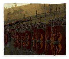 Roman Legion In Battle - Ancient Warfare Fleece Blanket