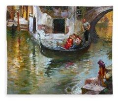 Romance In Venice 2 Fleece Blanket
