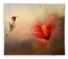 Romancing The Hibiscus Fleece Blanket