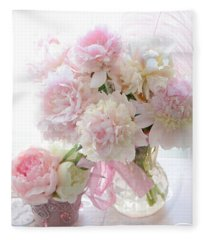 Shabby Chic Pink White Peonies - Shabby Chic Peonies Pastel Pink Dreamy Floral Wall Print Home Decor Fleece Blanket
