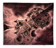 Romantic Stemapunk Violin Music Fleece Blanket