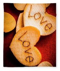 Romantic Wooden Hearts Fleece Blanket