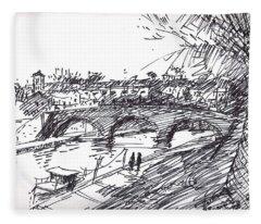 Bridge At Isola Tiberina Rome Sketch Fleece Blanket