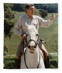 Ronald Reagan On Horseback  Fleece Blanket