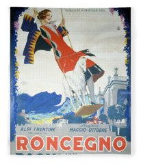 Roncegno Bagni - Palace And Grand Hotel - Vintage Advertising Poster Fleece Blanket