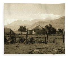 Rondavel In The Drakensburg Fleece Blanket