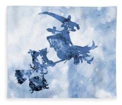 Room On The Broom-blue Fleece Blanket