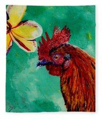 Rooster And Plumeria Fleece Blanket