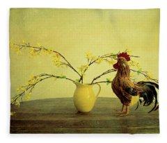 Rooster At Sunrise Fleece Blanket