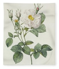 Rosa Alba Foliacea Fleece Blanket