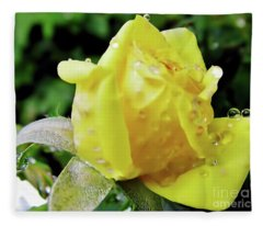 Rose Bud Dew Drops Fleece Blanket