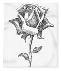 Rose Drawings Black-white 5 Fleece Blanket