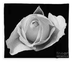 Rose In Black And White Fleece Blanket
