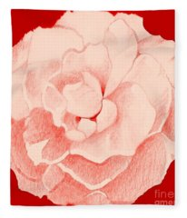 Rose On Red Fleece Blanket