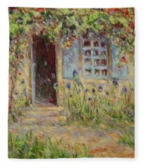 Rose Trees At The Front Of The House Fleece Blanket