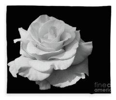 Rose Unfurled In Black And White Fleece Blanket