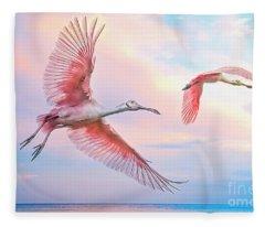Roseate Spoonbills In Flight. Fleece Blanket