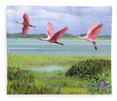 Roseate Spoonbills Of Florida Bay Fleece Blanket