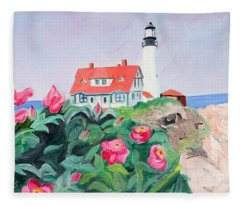 Roses At Portland Headlight Fleece Blanket