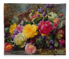 Roses By A Pond On A Grassy Bank  Fleece Blanket