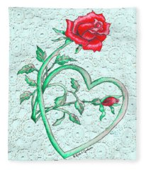 Roses Hearts And Lace Flowers Design  Fleece Blanket