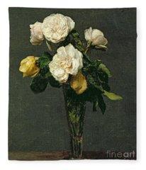 Roses In A Champagne Flute Fleece Blanket