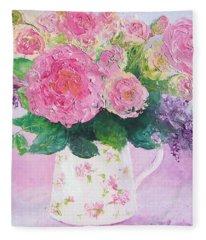Roses In A Pink Floral Jug Fleece Blanket